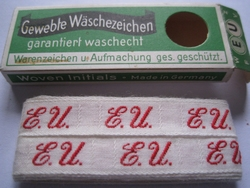 Initialen - Lint E.U.  Lint 1 cm breed