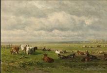 Oud meester Willem Roelofs weilandschap met vee