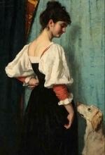 Portret van een jonge vrouw met de hond Puck  100 x 70 x 2,5