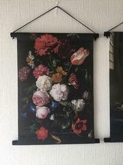 Stilleven met bloemen in glazen vaas van oude meester Jan Da  100 x 70 x 2,5