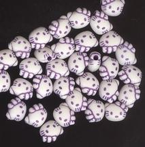 6 Kitty kralen - paars  8 x 10 mm
