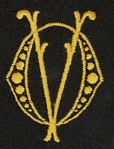 Monogram O.V.  4 x 3 cm