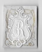 6 Monogrammen O.R. 4,5 x 2,5 cm