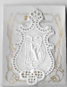 6 Monogrammen D.V 4,5 x 2,5 cm