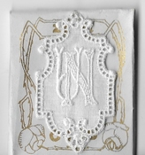 6 Monogrammen N.U. 4,5 x 2,5 cm