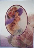 Vrouw met hoed 15 x 10,5 cm