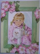 Postkart - Mädchen mit Hund 15 x 10,5 cm
