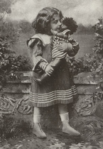 Mädchen mit Puppe 15 x 10,5 cm
