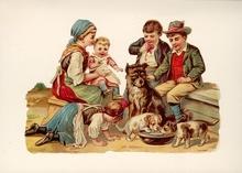 Familie mit Hunden 15 x 10,5 cm