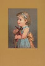 Mädchen mit Mulattenpuppe 15 x 10,5 cm