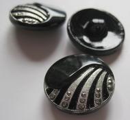 Glasknoop - Zwart zilverkleur 23 mm